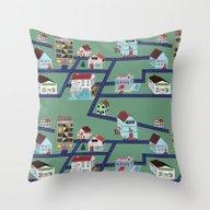 Little Town Pattern Throw Pillow
