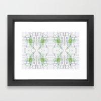 Circuit board green repeat Framed Art Print