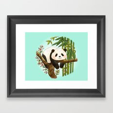 Panda under sunlight - Mint Framed Art Print