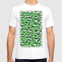 Green Leopard Pattern Mens Fitted Tee White SMALL
