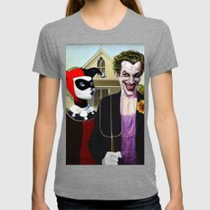Why So American Gothic? Womens Fitted Tee Tri-Grey SMALL