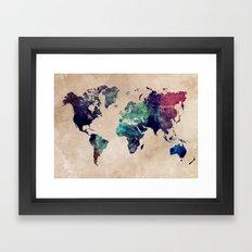 Cold World Map Framed Art Print