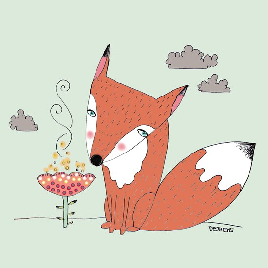 un renard dans la cours Art Print