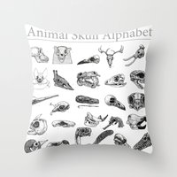 Animal Skull Alphabet Throw Pillow