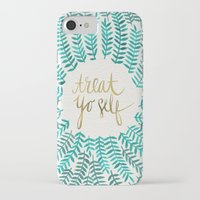 gold iPhone & iPod Cases featuring Treat Yo Self – Gold & Turquoise by Cat Coquillette