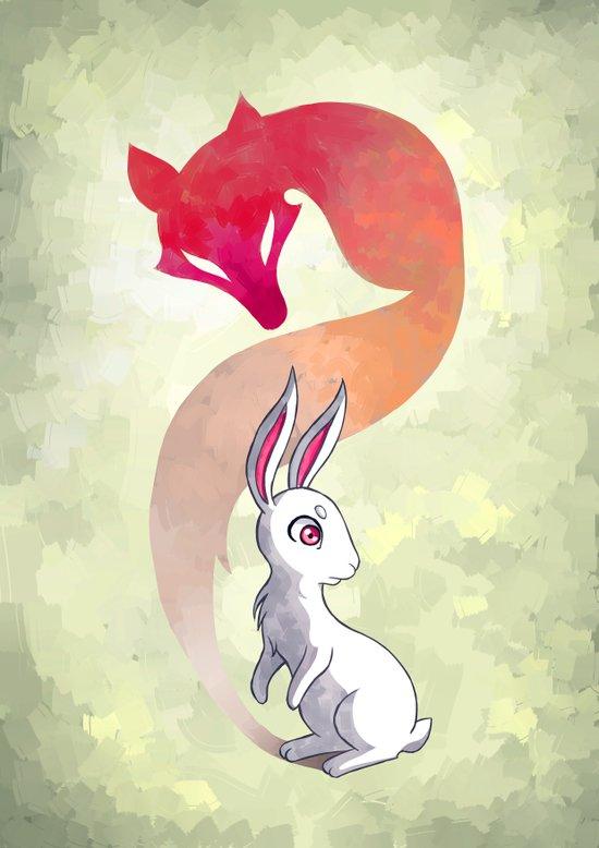 Rabbit and a Fox Art Print