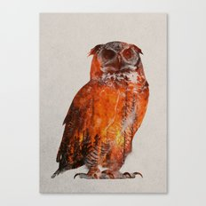 Owl In Wildfire Canvas Print