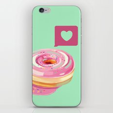 Pink Heart Frosted Donut iPhone & iPod Skin