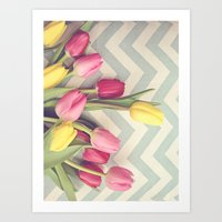 Tulips And Chevrons Art Print