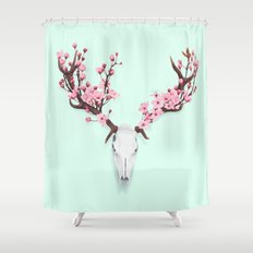 CHERRY BLOSSOM SKULL Shower Curtain