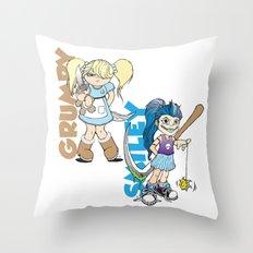 Grumpy/Smiley Throw Pillow