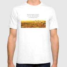 the past is like a foreign country. White SMALL Mens Fitted Tee
