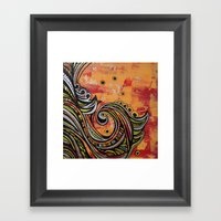 Red and silver Framed Art Print