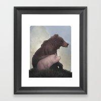 Bear And Pig Framed Art Print