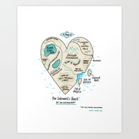 map Art Prints featuring A Map of the Introvert's Heart by gemma correll