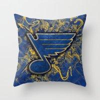 STL Blues swirl Throw Pillow