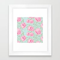 Pink  Roes and French Script Framed Art Print
