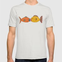 Fishy Kisses Mens Fitted Tee Silver SMALL