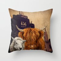 Sheep Cow 123 Throw Pillow