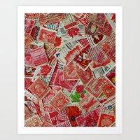 Vintage Postage Stamp Collection - Red Art Print