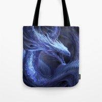 Blue Crystal Dragon Tote Bag
