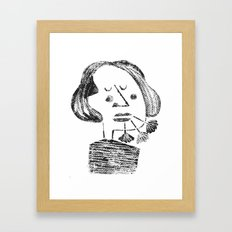 girl with a flower on her mouth Framed Art Print