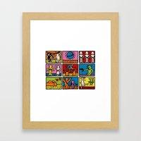 Haring - étoiles W. Framed Art Print