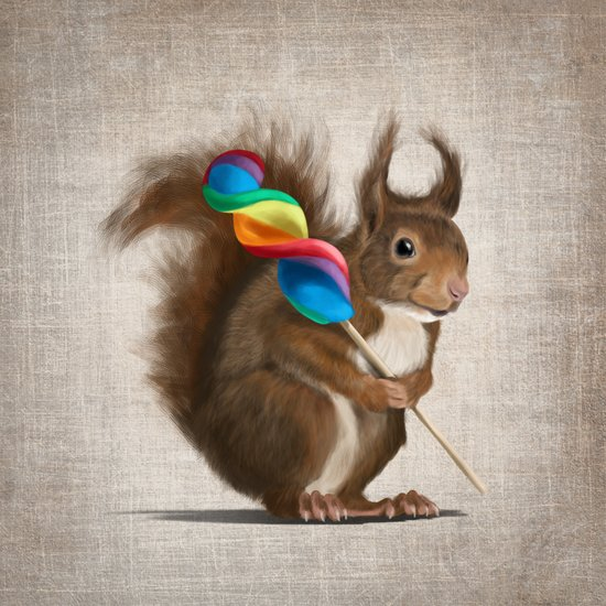 A funny squirrel with a lollipop on a rustic background. Art Print