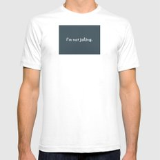 No Joke White Mens Fitted Tee SMALL