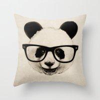 Panda Head Too Throw Pillow