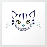 Grinning  Cheshire Cat Art Print