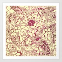 Yellow square, pink floral doodle, zentangle inspired art pattern Art Print