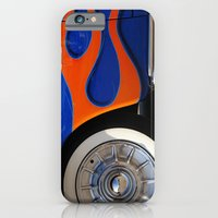 Chrome hubcaps, orange flames iPhone 6 Slim Case