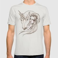 Her first Unicorn Mens Fitted Tee Silver SMALL