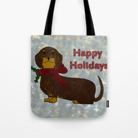 Happy Holidays Dachshund Tote Bag