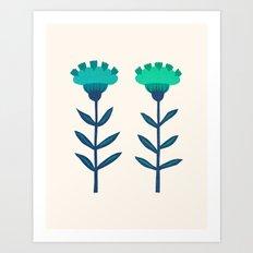 Folk Flowers Botanical - Blue Art Print