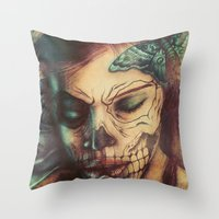 Skull Girl Throw Pillow