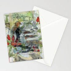 Birds on a Beach with Lovers, Eggs, and Flowers Stationery Cards