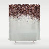 Glitter Sparkle Confetti Rainbow Party Shower Curtain