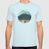 NEVER STOP EXPLORING III Mens Fitted Tee Light Blue SMALL
