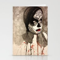 sugar skull Stationery Cards featuring sugar skull  by Joedunnz