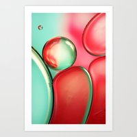 Oil Drops In Blush & Blu… Art Print
