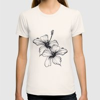 Aqua Floral Womens Fitted Tee Natural SMALL