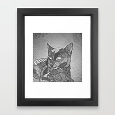 Zentangle Black Cat Framed Art Print