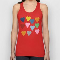 Hearts Colour Unisex Tank Top