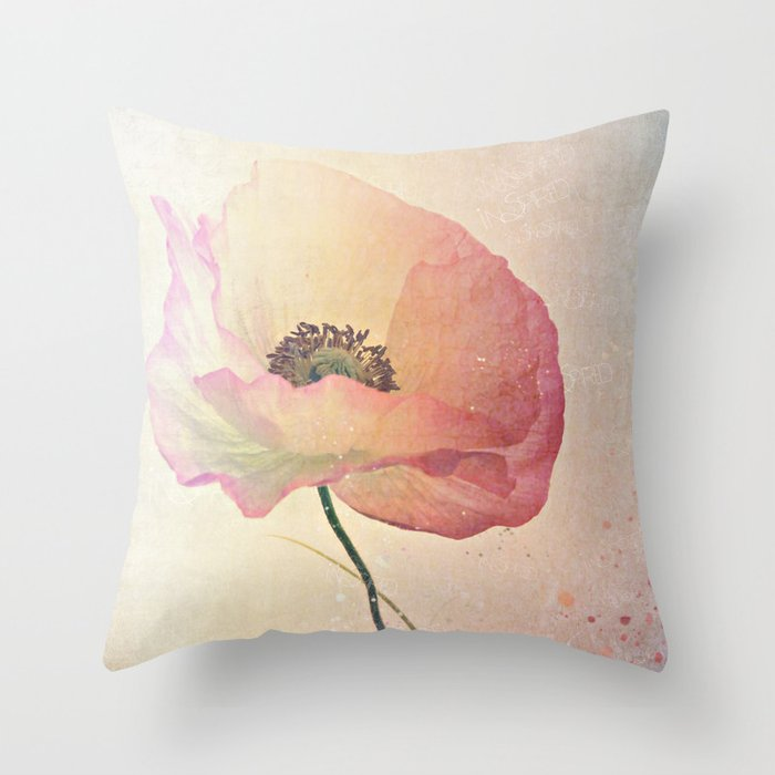 Inspired by the light -- Pink Poppy Flower Throw Pillow by V. Sanderson / Chickens In The Trees ...