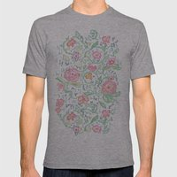Pixel Flowers Mens Fitted Tee Athletic Grey SMALL