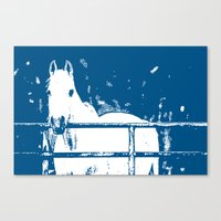 White Horse - Navy Blue Canvas Print
