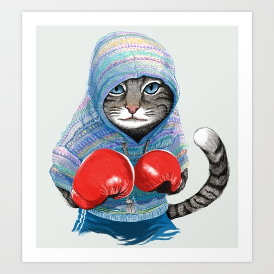 Boxing Cat Art Print By Tummeow Society6