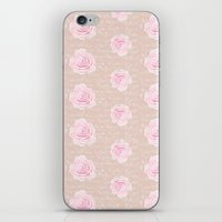 Watercolor Roses on Blush with French Script iPhone & iPod Skin